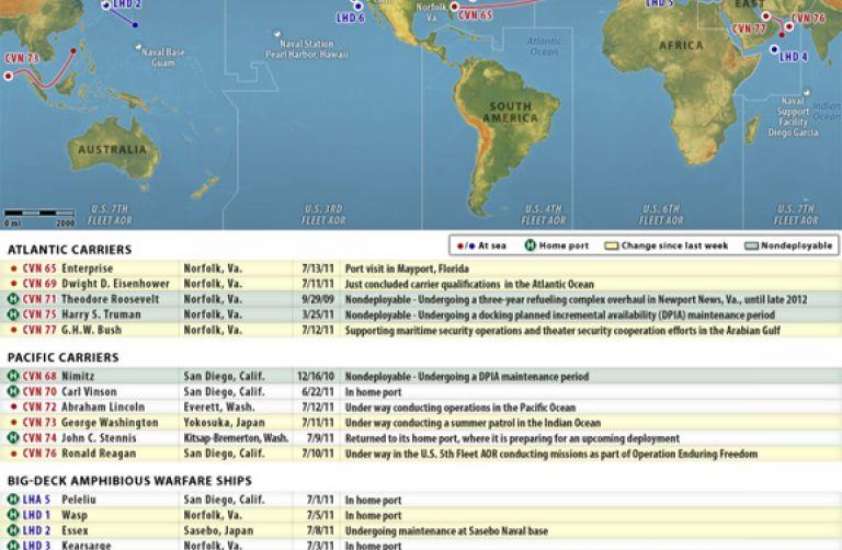 U S  Naval Update Map: July 13, 2011