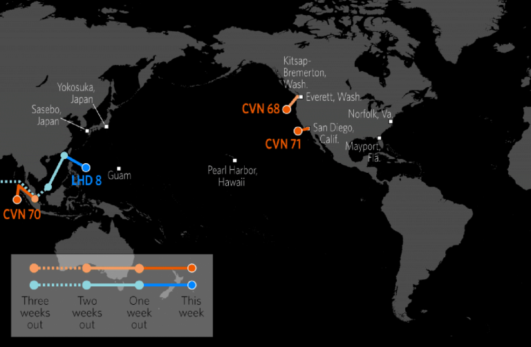 US Naval Update Map April Stratfor Worldview - Map of us fleet deployment