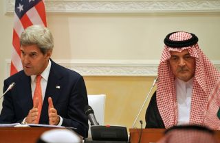 U.S. Secretary of State John Kerry (L) and Saudi Foreign Minister Prince Saud al-Faisal at a news conference in Riyadh on Nov. 4.
