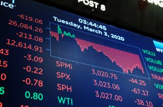 A close-up shot of board on the floor of the New York Stock Exchange (NYSE) on March 03, 2020. The board shows mostly negative losses in red, as stocks on Wall Street fell once again amid growing concerns over the coronavirus outbreak.