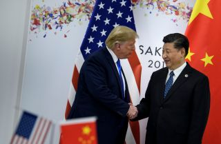 U.S. President Donald Trump and Chinese President Xi Jinping meet during the G-20 summit in Osaka, Japan, on June 29, 2019.