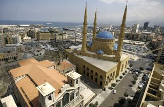 An aerial view of modern downtown Beirut.