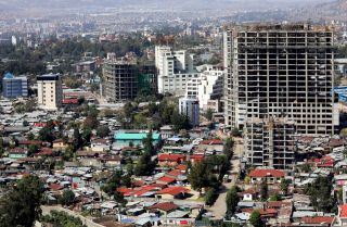 A picture taken on March 13, 2019, shows the construction of a number of new buildings in Addis Ababa.