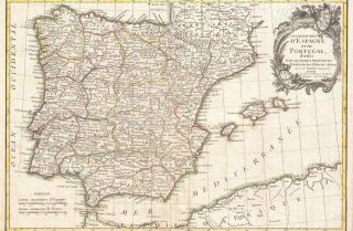 Antique map of Spain