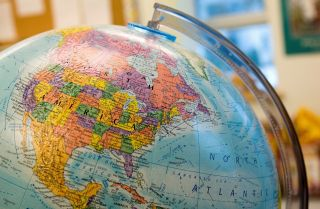 World map in the classroom