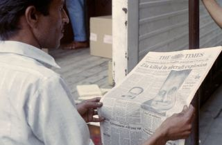 Photograph of newspaper reporting the crash of PAK-1