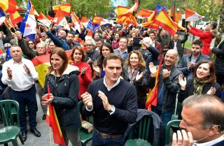 Albert Rivera, center, leader of Spain's center-right Ciudadanos (Citizens) party, leads a campaign rally in Renteria on April 14, 2019.