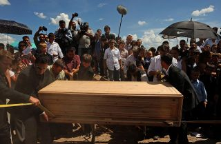 A funeral for Benjamin LeBaron on July 9, 2009, in Chihuahua state, Mexico. LeBaron was a victim of cartel violence.