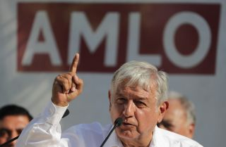 Andres Manuel Lopez Obrador, the National Regeneration Movement's candidate for Mexico's presidency, addresses the crowd at a campaign event on April 20, 2018.