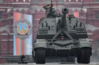 This photo shows a Msta-S self-propelled howitzer rolling through Red Square during the Victory Day parade in Moscow on May 9, 2019.
