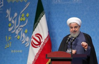 Iranian President Hassan Rouhani delivers a speech during an event at Farhangian University in Tehran on Dec. 9, 2019.