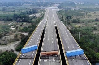 The Venezuelan military blocked the Tienditas International Bridge on the Colombian border on Feb. 5, 2019, to prevent aid supplies from entering the country.