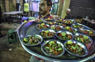 A 'suhur' meal, which is served before dawn during the holy month of Ramadan, in Cairo on May 31, 2018.