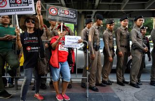This photo shows protesters opposed to the military junta's rule over Thailand during a demonstration disputing election results.