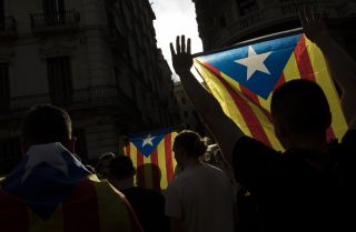 Protesters gather outside police offices in Barcelona, Spain, on Oct. 2.