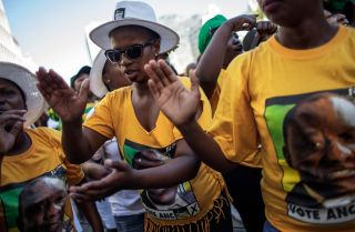 Supporters of South African President Cyril Ramphosa and his African National Congress party at a rally