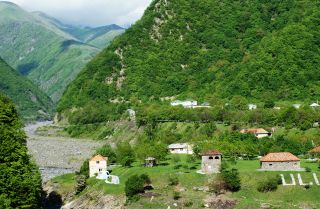 A view of the administrative center of the Gakh region of Azerbaijan, located at the foot of the southern slope of the Greater Caucasus, on the river Kurhumchai.