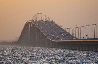 Vehicles cross the King Fahd Causeway, which runs 25 kilometers between Saudi Arabia and the island nation of Bahrain.
