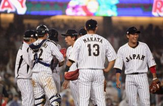 A team of Japanese players represent their country at the 2017 World Baseball Classic in 2017.