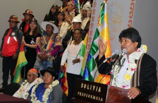 Bolivian President Evo Morales speaks during inauguration ceremonies for the new presidential palace in La Paz on Aug. 9, 2018.