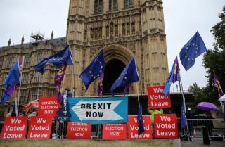 Pro-Brexit protesters stage a rally outside the Houses of Parliament in London on Sept. 9, 2019.