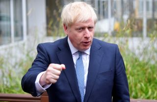 This photo shows British Prime Minister Boris Johnson