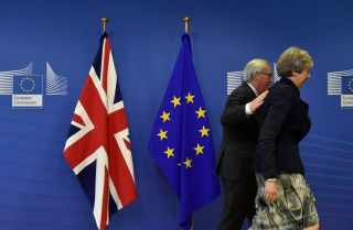 British Prime Minister Theresa May was in Brussels on Dec. 4, 2017, for Brexit talks with European Commission President Jean-Claude Juncker.