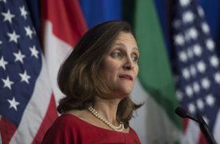 Canadian Foreign Minister Chrystia Freeland speaks during a press conference at the conclusion of the fourth round of negotiations for a new North American Free Trade Agreement (NAFTA) in 2017. Canada's trade case against U.S. trade remedy measures in the World Trade Organization will be at the forefront of global pushback against Washington's protectionist trade agenda.