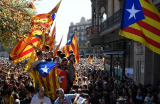 Catalonia's pro-independence flag is on full display during a Sept. 20 protest in Barcelona, Spain.