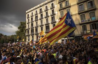 Students demonstrate against the Spanish government's decision to ban the Catalan referendum on Sept. 28 in Barcelona.