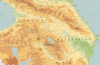 A physical map of the Caucasus