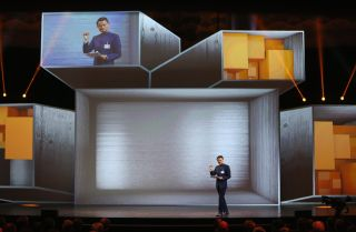 Jack Ma, chairman of China's Alibaba Group, speaks at the 2015 CeBIT expo in Hannover, Germany.