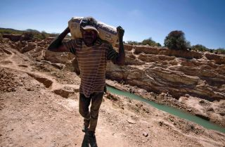 A worker at a copper and cobalt mine near Lubumbashi, Democratic Republic of the Congo, May 23, 2016.