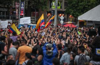 A protest against the government of President Ivan Duque on Dec. 8, 2019, in Bogota, Colombia.