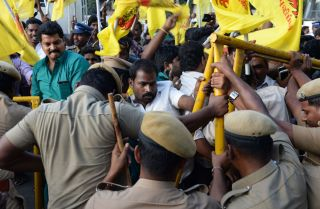 Protesters angry over water management took their grievances to the Chennai Super Kings home stadium.