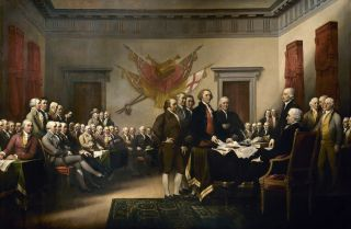 The presentation of the American Declaration of Independence, as depicted in a painting by John Trumbull.