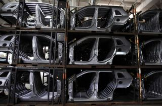 A Fiat Chrysler plant in Michigan displays auto body parts.