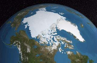 A satellite photo from NASA depicts the polar icecap.