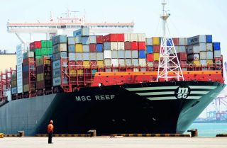 A cargo ship in Qingdao, a seaport in China's Shandong province, on April 13, 2017.