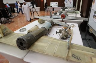 This photo shows remains of drones alleged to have been used by Houthi rebels in Yemen