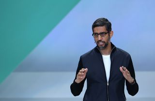 Google CEO Sundar Pichai speaks at the Google I/O 2017 Conference in Mountain View, California, on May 17, 2017.