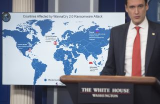 White House homeland security adviser Tom Bossert speaks about the WannaCry virus, which was tied to North Korea, during a briefing at the White House in Washington on Dec. 19, 2017.