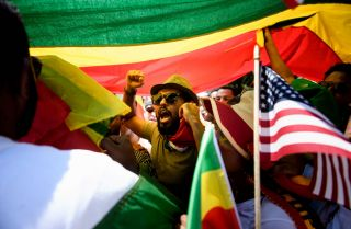 Supporters of Ethiopia's Prime Minister at rally in Washington