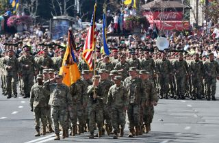 U.S. soldiers take part in a military parade in Kiev on Aug. 24, 2018, to celebrate the 27th anniversary of Ukraine's independence from the Soviet Union.