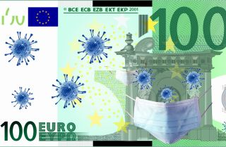 An illustration of a microscope image of the new coronavirus and a surgical mask overlaying a 100 euro banknote.