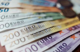 This photo shows fanned-out 50, 100, 200 and 500 banknotes of the euro, the currency of the eurozone.