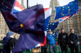 Demonstrators protest the United Kingdom's withdrawal from the European Union in front of the British Parliament building on Feb. 26, 2018.