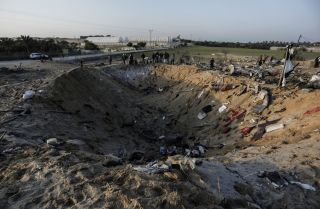 This picture shows the site of an Israeli airstrike in Gaza on Nov. 12.