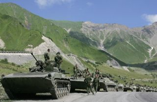 A Russian convoy heads into South Ossetia on Aug. 8, 2008, to respond to fighting there between Georgian and separatist forces