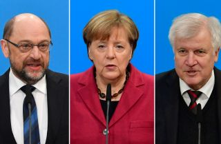 Germany's Social Democratic Party leader Martin Schulz, left; Chancellor Angela Merkel, who leads the conservative Christian Democratic Union; and Horst Seehofer, leader of the CDU's sister party, the Christian Social Union.